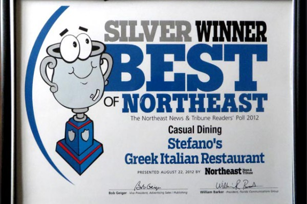 Best Casual Dining in Northeast Tampa 2012 – Stefano Greek Italian Restaurant