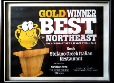 Gold Winner! BEST GREEK in Tampa Northeast 2013- Stefano Greek Italian Restaurant